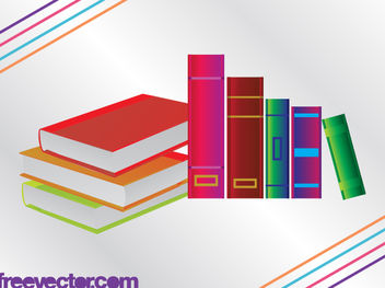 3D Colorful Books with Blank Cover - Free vector #182133