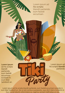 Tiki Hawaiian party poster - Free vector #182193