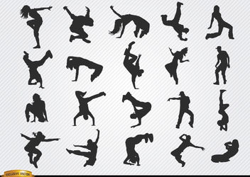 Break dance silhouettes - Free vector #182233