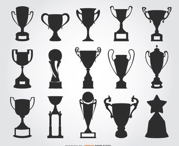 15 trophy silhouettes - Free vector #182303