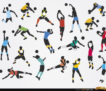 19 Silhouettes of Volleyball players - Free vector #182313