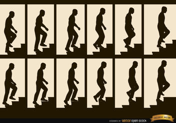 Man climbing stairs sequence frames silhouettes - vector gratuit #182333