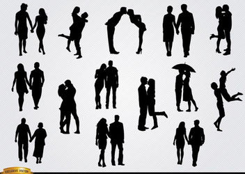 Couples in love silhouettes set - vector gratuit #182353