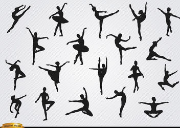 Ballet dancer silhouettes set - Free vector #182363