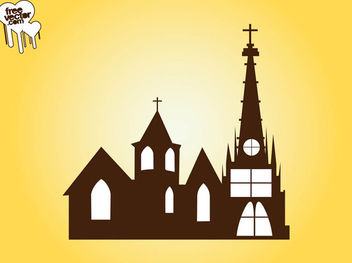 Silhouette Church Building - vector gratuit #182423