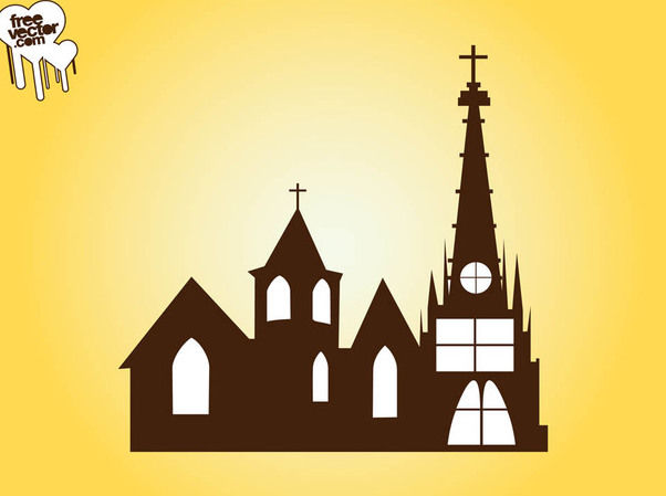 Silhouette Church Building - бесплатный vector #182423