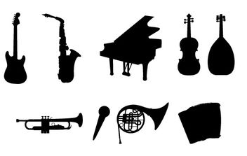 Musical Instruments Silhouettes - vector #182443 gratis
