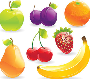 Glossy Detail Healthy Fruit Pack - Free vector #182453