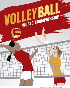 Volleyball girls playing poster - vector gratuit #182473