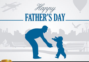Father and son love in park - vector gratuit #182523