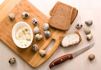 Quail eggs, Borodino bread with cheese curd - image #182663 gratis