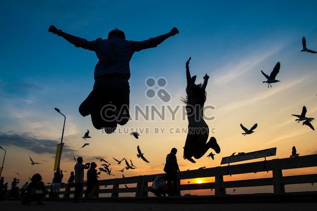 Silhouette of jumping couple - Free image #183493