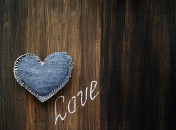 denim heart and inscription love - image #183953 gratis