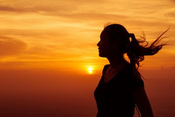 Women silhouette on Sunset background - Free image #184283