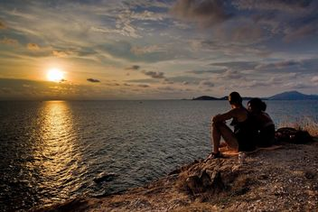 #iloveocean, #Sea, #sunset, #couple - image gratuit #185653