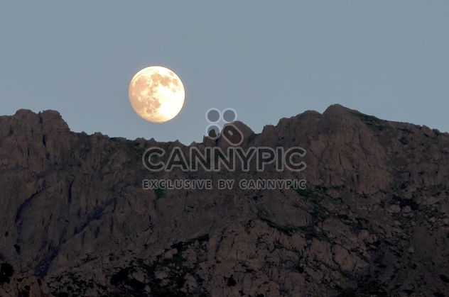 Landscape with full moon and mountains - Free image #186033
