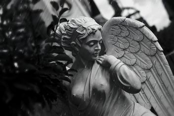 Sculpture of angel on rainy day - image gratuit #186703