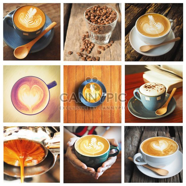 Collage de photos avec café et latte - image gratuit #187013