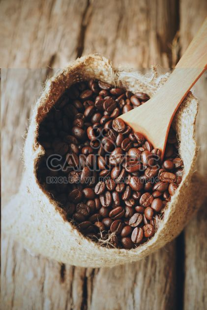 Coffee beans in canvas sack - Free image #187113