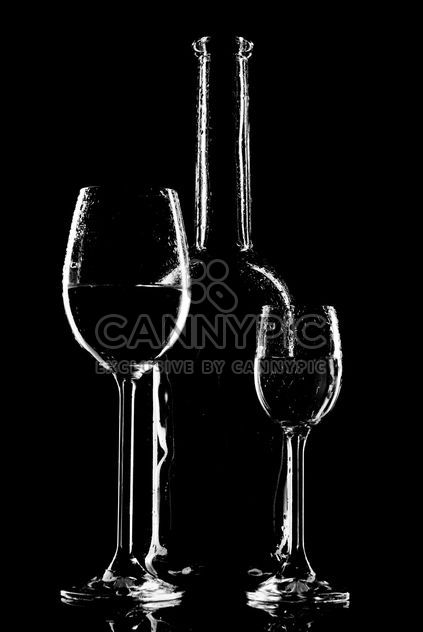 wine glasses and bottle silhouette - бесплатный image #187673