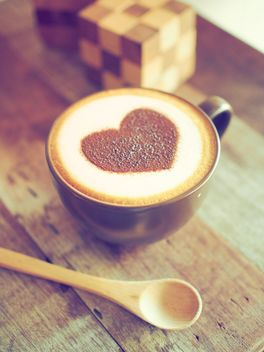 Coffee with chocolate heart - image #197863 gratis