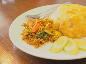 Spicy pock with rice and fried egg - image #197983 gratis