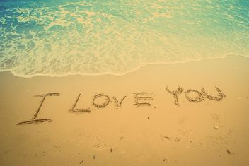 Text I love you on the sand - бесплатный image #198023