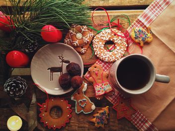 Christmas cookies and tangerines - Free image #198843