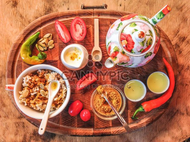 Breakfast on wooden tray - Free image #198923