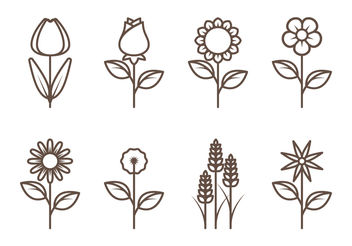 Flower Outline Vectors - Free vector #199093