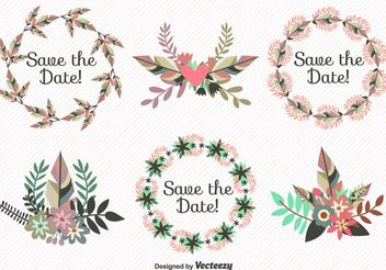 Save the Date Leaves Wreath Vectors - бесплатный vector #199253