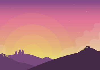 Sunset Scene Vector - Free vector #199313