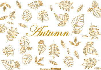 Doodle Autumn Brown Leaves Vectors - Free vector #199343