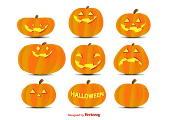 Cartoon pumpkins set - vector gratuit #199353