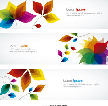 Colorful banner flowers - Free vector #199543