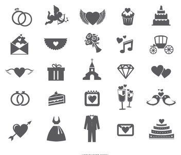 Wedding web icon set - vector gratuit #199553