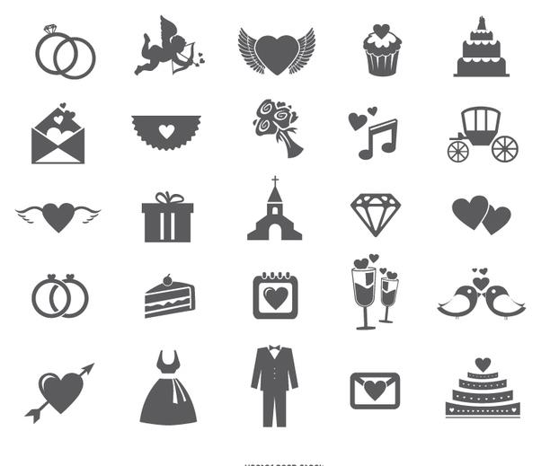 Hochzeit Web Icon Set Kostenloser Vektor Download 199553
