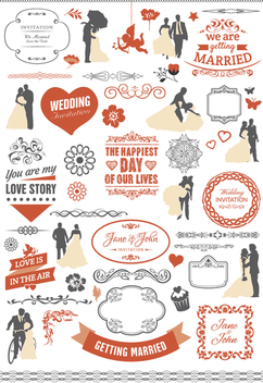 Wedding graphic element set - бесплатный vector #199563