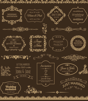 Golden Wedding Badges and Ornaments - vector gratuit #199583