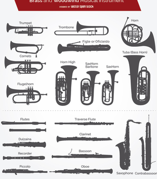 Brass and woodwind instrument silhouettes - Free vector #199643