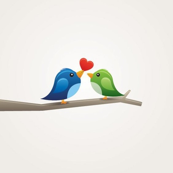 Cute Lovebirds on Tree Branch - Free vector #199703