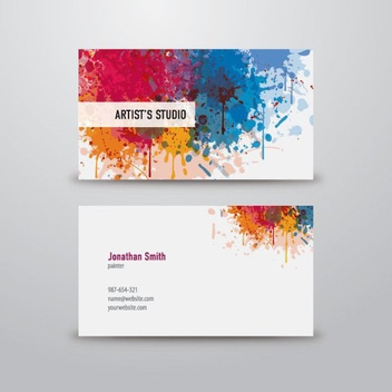 Colorful Splatters Artist Business Card - бесплатный vector #199713