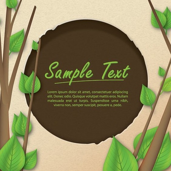 Woodcut Circle Frame with Trees - Free vector #199743