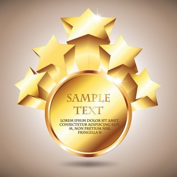 3D Golden Starry Badge - vector gratuit #199763