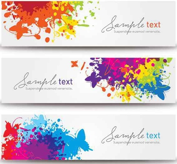 Colorful 3 Splashed Banners - vector gratuit #200053