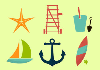 Beach Icons - Free vector #200093