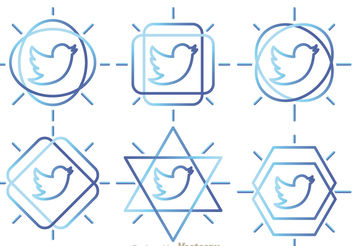 Twitter Bird Outline Vectors - vector gratuit #200423