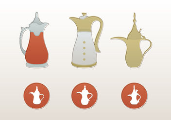 Arabic Coffee Pot Vector Icons And Illustrations - vector gratuit #200493