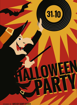 Halloween Witch Party Poster - Free vector #200503