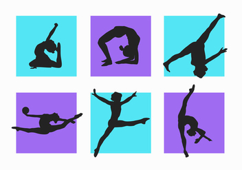 Women and Child Gymnastics Silhouettes Vector Pack - Free vector #200533